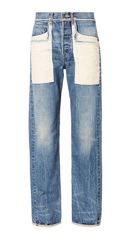 прямые джинсы бойфренды пэтчворк заплатки