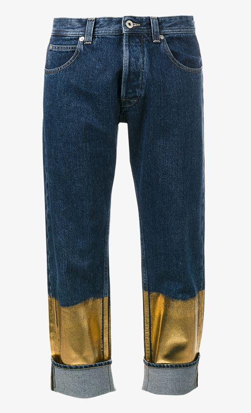 сине-золотые джинсы бойфренды