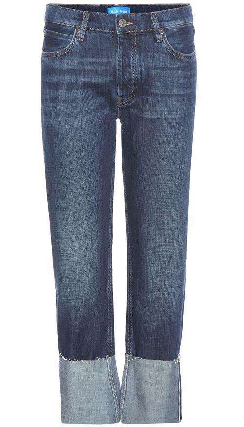 прямые подвернутые джинсы бойфренды