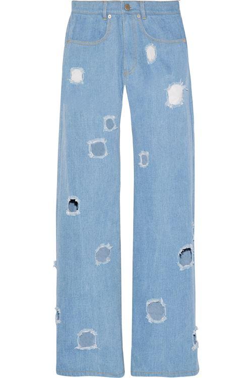 прямые широкие джинсы бойфренды с дырками
