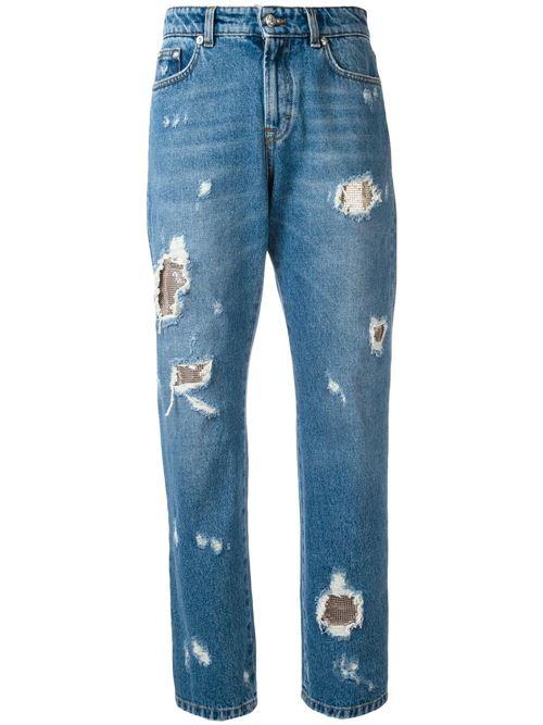 рваные прямые джинсы бойфренды