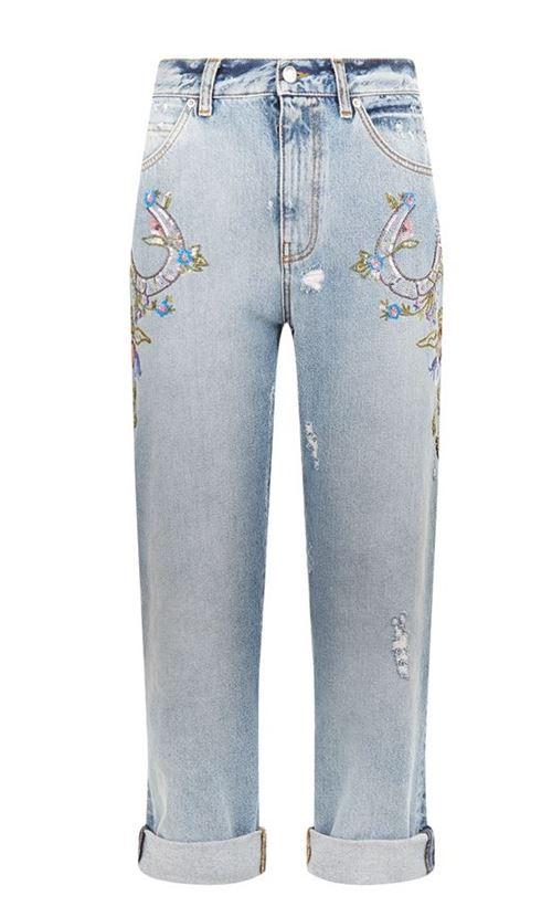 джинсы бойфренды с вышивкой