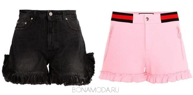 черные и розовые шорты с оборками