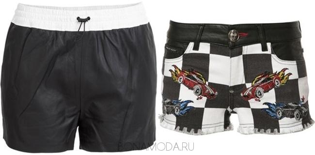 черно-белые кожаные шорты