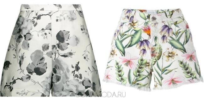 светлые шорты с цветочным принтом