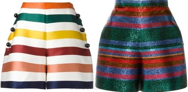 яркие шорты в поперечную полоску