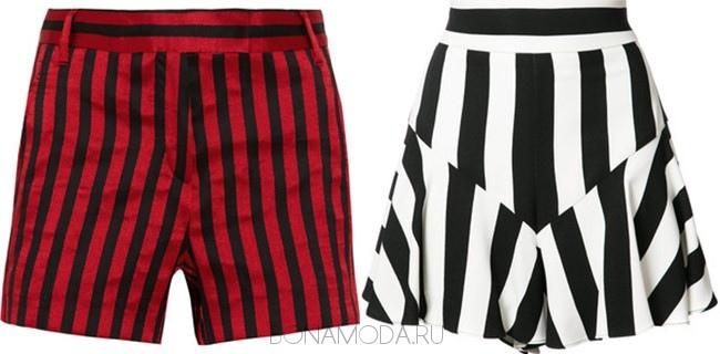 красно-черные и черно-белые шорты в продольную полоску