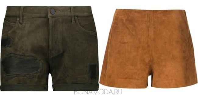 замшевые шорты хаки и коричневые
