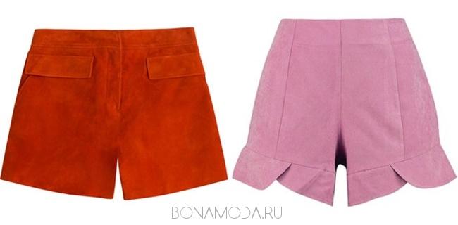 красные и розовые замшевые шорты