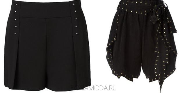 черные шорты с заклепками
