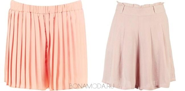 светлые персиковые и розовые шорты с плиссировкой
