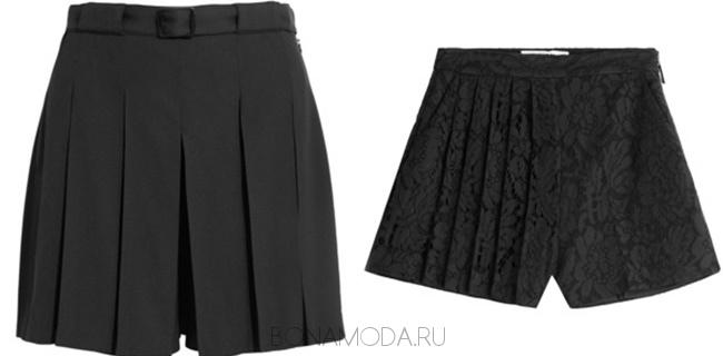 черные плиссированные шорты