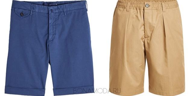 синие и бежевые шорты бермуды