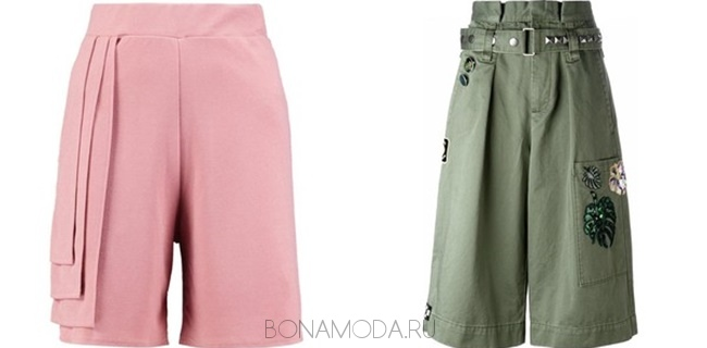 розовые и зеленые шорты бриджи
