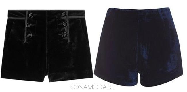 черные и синие бархатные и вельветовые шорты