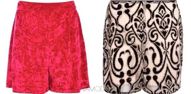 модные бархатные и вельветовые шорты с узором