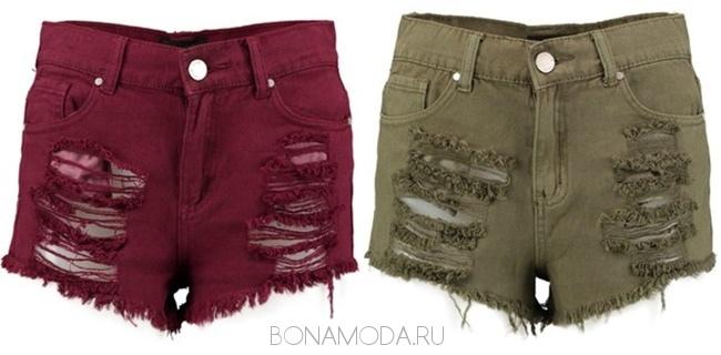 джинсовые шорты рваные красные хаки