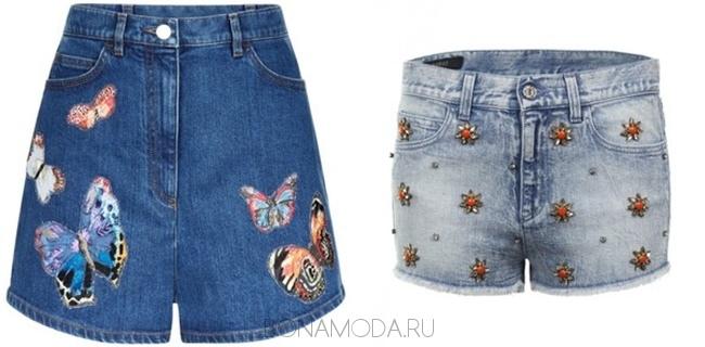 джинсовые шорты с аппликациями