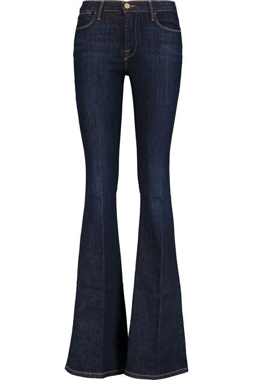 темно-синие узкие джинсы клеш от колена