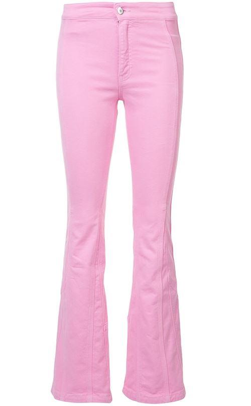 розовые джинсы клеш