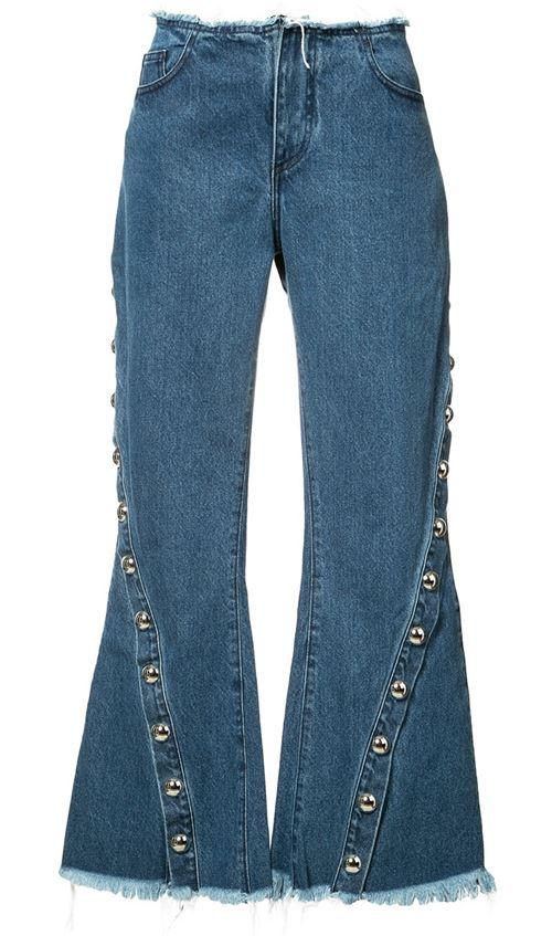 короткие широкие джинсы клеш