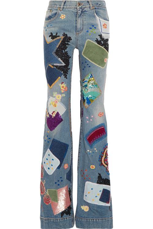 джинсы клеш с аппликациями пэтчворк