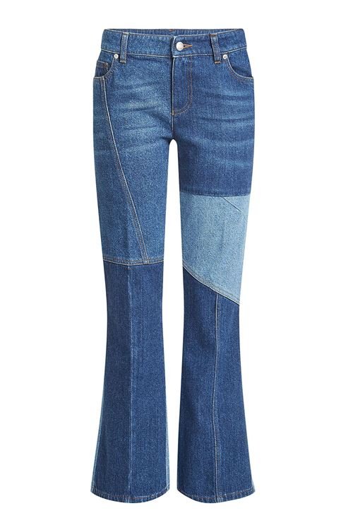 джинсы клеш пэтчворк