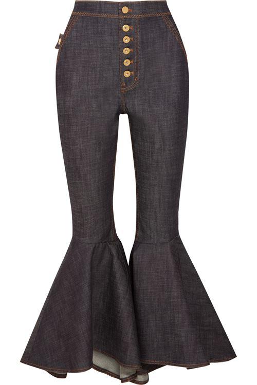 короткие джинсы клеш от колена