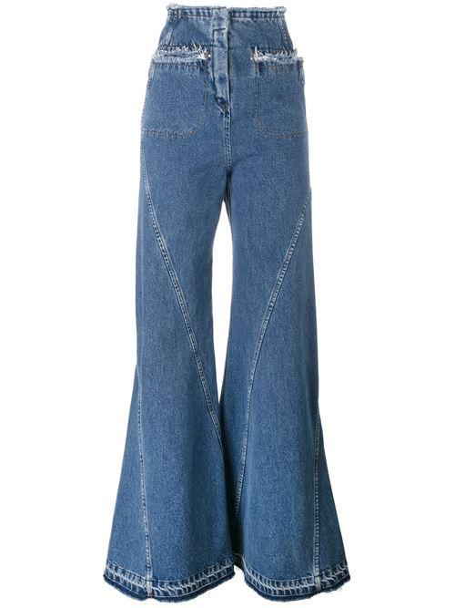 широкие длинные джинсы клеш