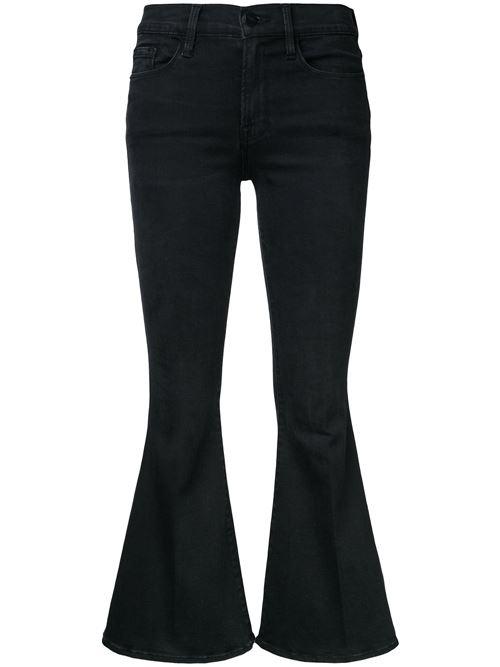 черные укороченные джинсы клеш