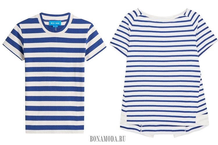футболки в полоску сине-белые
