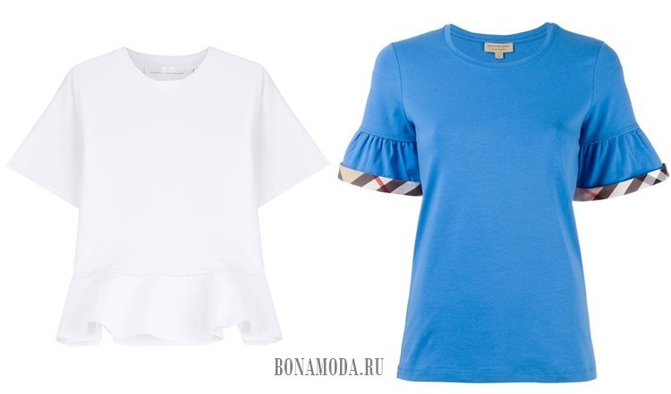 белая синяя футболка с воланами