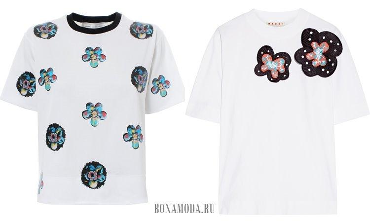 белые футболки цветы аппликации