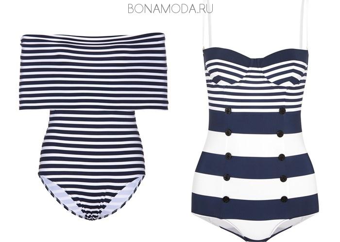 Модные купальники тенденции 2017: слитные синие в полоску