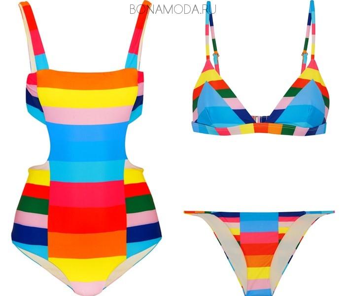 Модные купальники тенденции 2017: яркие колор блок