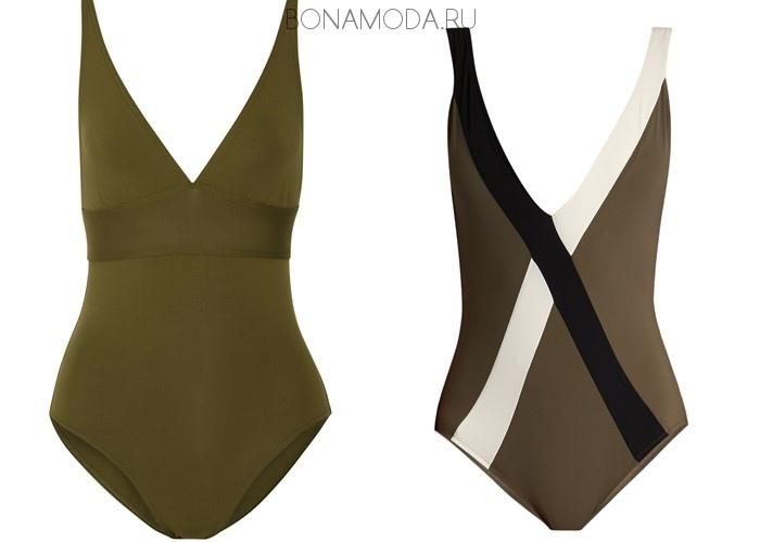 Модные купальники тенденции 2017: слитные с глубоким V-образным вырезом