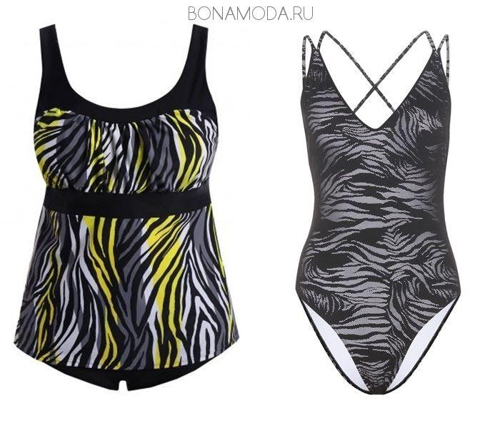 Модные купальники тенденции 2017: закрытые с рисунком зебра