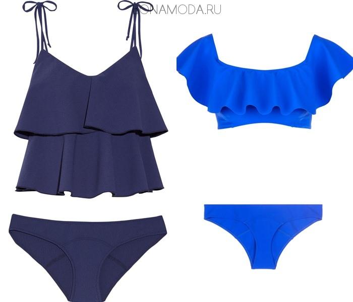 Модные купальники тенденции 2017:  синие с воланами