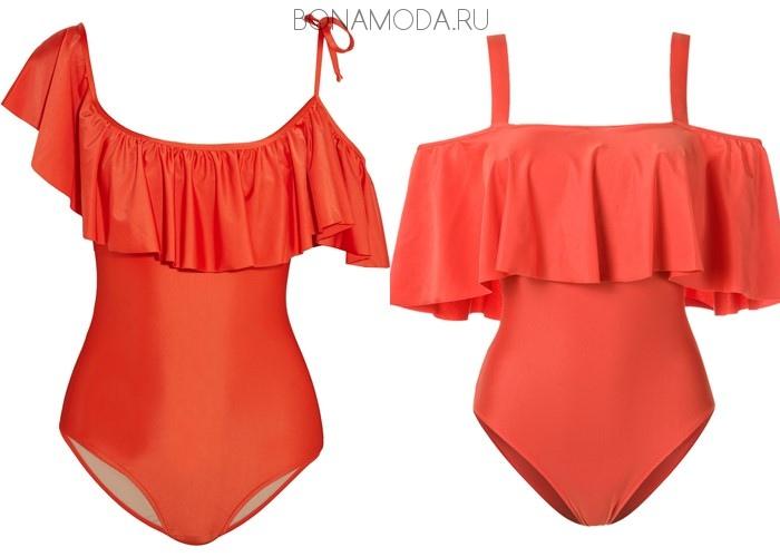 Модные купальники тенденции 2017:  красные с воланами