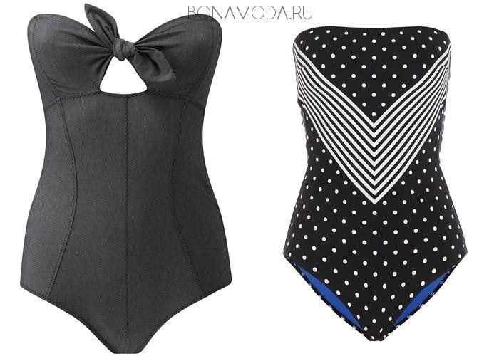 Модные купальники тенденции 2017:  слитные чёрные бюстье