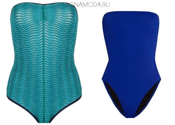 Модные купальники тенденции 2017:  гладкие синие и бирюзовые бюстье