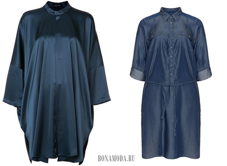 темно-синие рубашки-туники 2017