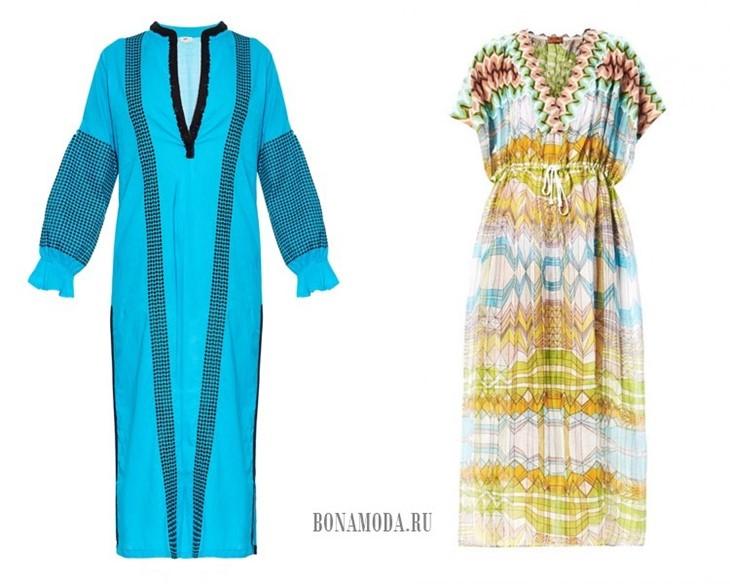 длинные платья туники на лето