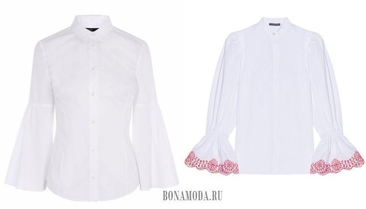 белые рубашки с расклешенными рукавами 2017