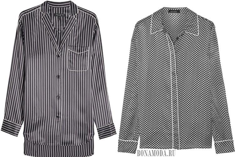 черно-белые шелковые пижамные рубашки 2017
