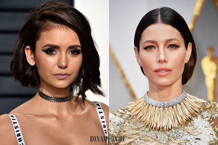 Черные широкие стрелки на глазах: Нина Добрев и Джессика Бил