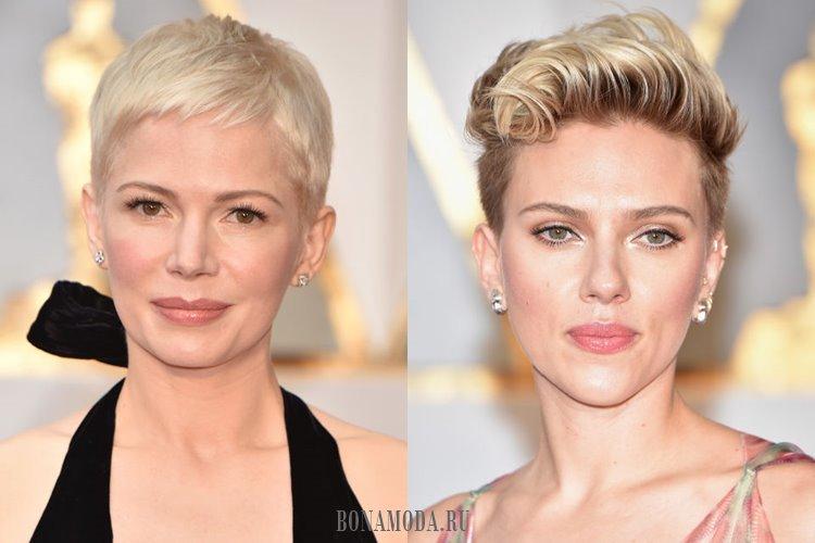 Короткая стрижка, светлые волосы и естественный макияж: Мишель Уильямс и Скарлетт Йоханссон