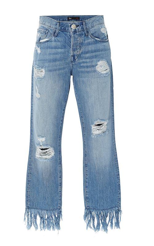 рваные джинсы с бахромой
