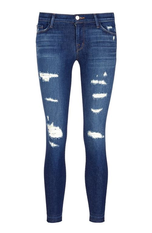 темно-синие рваные джинсы слим