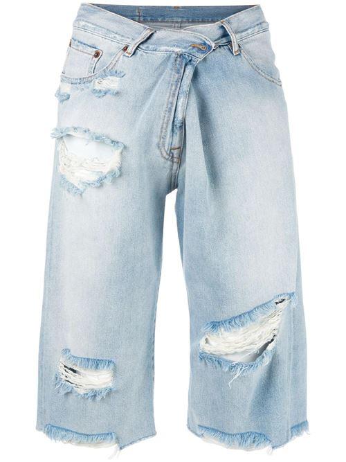 короткие рваные джинсовые бриджи